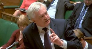 Britain's Brexit secretary David Davis responds in the House of Commons  to questions on the Brexit negotiations. Photograph: PA