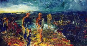 'Men of Destiny'. A group of men who are tying up a fishing boat on the shore at the end of a day. A masted fishing boat on the water. The setting sun on the horizon. – Jack B Yeats, 'Men of Destiny', 1946. © Estate of Jack B Yeats, DACS London/IVARO Dublin, 2017