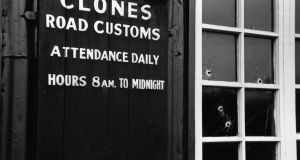 The Clones Road customs post showing bullet holes in the window and door. Photograph:   Charles Hewitt/Picture Post/Getty Images
