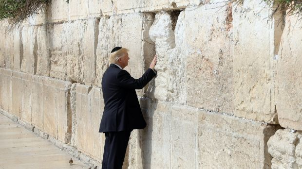 US president Donald Trump touches the Western Wall, Judaism's holiest prayer site, in Jerusalem's Old City, on May 22nd, 2017. File photograph: Ronen Zvulun/EPA