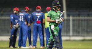 Ireland's Andrew Balbirnie walks off after being dismissed during his side's heavy ODI defeat to Afghanistan. Photograph: Nezar Balout/AFP