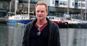 Sting at Dublin docklands to promote 'The Last Ship' musical, which opens on June 4th in the Bord Gáis Theatre. Photograph: Cyril Byrne