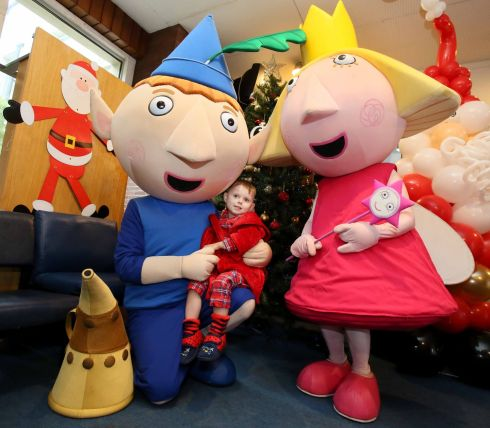 SPRINKLING MAGIC: Ben and Holly of Ben & Holly's Little Kingdom (with Devon Sherlock, aged 4, from Finglas) sprinkle some magic at Our Lady's Children's Hospital, Crumlin as the hospital lights up for Christmas. They are joined by Trabologan Holiday Villages' Florrie the Fox to launch hospital's festive programme. Photograph: Mark Stedman