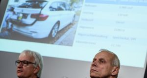 Deutsche Umwelthilfe director  Juergen Resch and traffic expert Axel Friedrich at a press conference in Berlin on Tuesday. Photograph: Clemens Bilan/EPA
