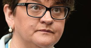 "Brexit deal: Arlene Foster said British officials told her the Irish Government ""wouldn't allow them to share"" the text of the proposed Border agreement. Photograph: Oli Scarff/AFP/Getty"
