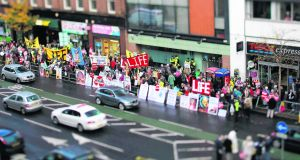 Anti-abortion protesters at the Marie Stopes clinic in Belfast, Northern Ireland on October 18, 2012. Photograph: AFP/Getty Images