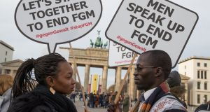 People  rally against female genital mutilation at the Brandenburg Gate in Berlin, Germany last month. Photograph: EPA