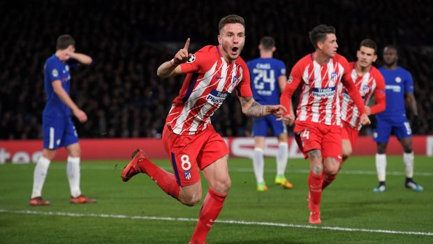 Saul Niguez after giving Atlético Madrid the lead at Stamford Bridge. Photograph: Toby Melville/Reuters