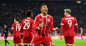 Corentin Tolisso scored twice as Bayern Munich beat PSG 3-1. Photograph: Tobias Schwarz/AFP