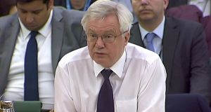 A video grab  shows British secretary of state for exiting the European Union  David Davis, as he speaks at a parliamentary Exiting the European Union Committee in London. Photograph: Getty