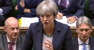 Britain's prime minister Theresa May as she spoke during the weekly Prime Minister's Questions (PMQs) session in the House of Commons in London on Wednesday. Photograph: AFP/Getty