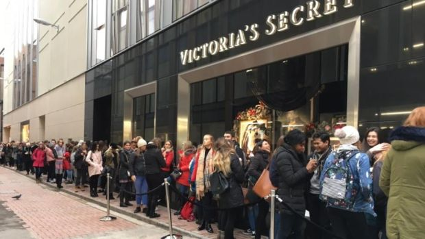 The queue outside Victoria's Secret on Grafton Street before it opened its doors at 10am last Tuesday