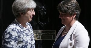 British prime minister Theresa May with DUP leader Arlene Foster wh spoke by telephone on Wednesday as efforts continue to rescue a deal on the Border arrangements after Brexit.  Photograph: Daniel Leal Olivas/AFP/Getty
