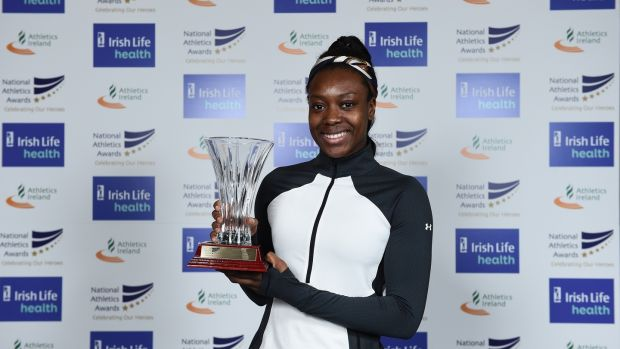 Gina Akpe-Moses won th award for the Under-20 Athlete of the Year. Photograph: Sam Barnes/Sportsfile