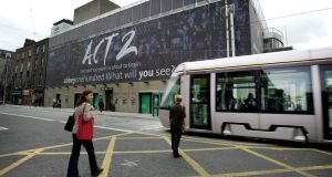 Art and motion: Luas passed the Abbey Theatre.