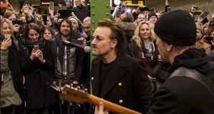 U2 busking on the U2 underground train line in Berlin. Photograph: U2/Instagram