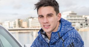 Ireland outhalf Joey Carbery, who is an ambassador for Europcar Ireland, suffered the arm break while playing against Fiji last month. Photograph:   Naoise Culhane