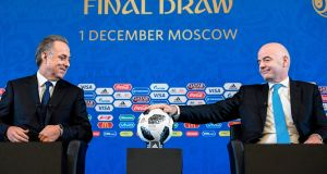 Fifa president Gianni Infantino (right) and Russian deputy prime minister Vitaly Mutko give a press conference prior to the  World Cup draw  in Moscow. Photograph: Alexander Nemenov/AFP/Getty Images