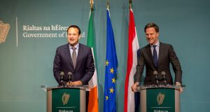 Taoiseach Leo Varadkar met  the Dutch prime minister  Mark Rutte in Government Buildings in Dublin. Photograph: Brenda Fitzsimons / The Irish Times