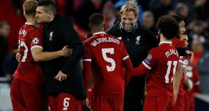 Liverpool manager Jürgen Klopp and players celebrate after the match. Photograph: Phil Noble/Reuters