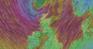 A wind map showing powerful gusts off the north west coast of Ireland. Image: windy.com