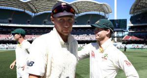 Joe Root and Steve Smith after Australia's second Test win in Adelaide. Photograph: Ryan Pierse/Getty
