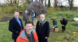 Bill Schindler (foreground) with Jason O'Brien (left) and Aidan O'Sullivan at the Centre for Experimental Archaeology & Material Culture, at UCD Belfield, Dublin. Photograph: Dara Mac Dónaill