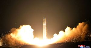 A missile described by the North Korean government as the Hwasong-15 intercontinental ballistic missile being launched at an undisclosed location in North Korea on November 29th. Photograph: Korean Central News Agency/Korea News Service via AP