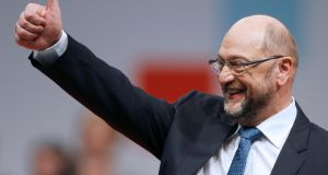 SPD leader Martin Schulz also gives the thumbs up to a new European finance minister to combat tax evasion. Photograph: Reuters
