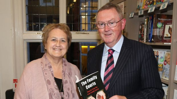 """I believe we should be allowed to work as long as we want and as long as we're capable of doing the job"": Valerie Cox, pictured with Sean O Rourke at the launch of her book The Family Courts. Photograph: Brian McEvoy"