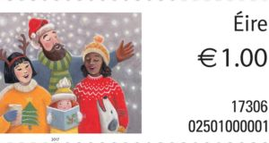One of three Christmas 2017 stamps issued by An Post, featuring original artwork by Liz Rackard
