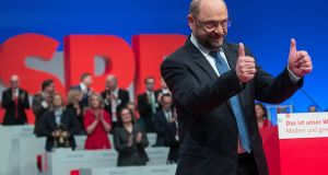 Martin Schulz, leader of the Social Democrat Party (SPD), after delivering his speech during the SPD's federal party convention in Berlin on Thursday. Photograph:  Krisztian Bocsi/Bloomberg