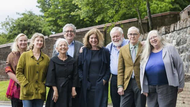 Noirin McKinney (Arts Council) and Prof Fran Brearton (Queen's University Belfast), with poets Leontia Flynn, Paula Meehan, Gerry Dawe, Michael Longley, Ciaran Carson and current Ireland Chair of Poetry Eiléan Ní Chuilleanáin. Photograph: Brian Morrison
