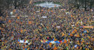 Thousands of supporters of Catalan independence rally in Brussels on Thursday. Photograph: Stephanie Lecocq/EPA