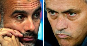Manchester City manager Pep Guardiola and  Manchester United manager  Jose Mourinho. City can create an 11-point gap at the top of the table if they beat United on Sunday. Photograph: Getty Images