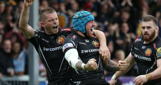 38a1b691e6d Exeter Chiefs' Jack Nowell celebrates with team-mate Gareth Steenson (left)  after