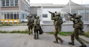 Irish Army: soldiers on an anti-terrorism training exercise in Dublin on Wednesday. Photograph: Defence Forces