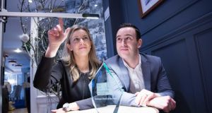 Dyson hotel: Magdalena Ruda of the Blue Haven in Kinsale, which uses the company's  lighting, among other products, with Daniel Wolverson of Dyson Ireland