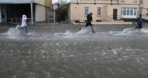 Flooding in Salthill, Galway, during Storm Ophelia in October 2017. Photograph: Joe O'Shaughnessy