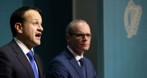 Taoiseach Leo Varadkar and Tánaiste Simon Coveney. The Irish position has angered the pro-Brexit lobby in London. Photograph: Laura Hutton/PA Wire