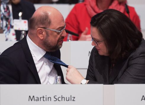 SHIP SHAPE: Chairwoman of the German Social Democratic Party parliamentary group, Andrea Nahles adjusts the tie of party chairman Martin Schulz during the party convention in Berlin. Photograph: Clemens Bilan/EPA