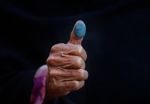 MAKE YOUR MARK: Asha Maya Dangol (80) after casting her vote during the second round of the parliamentary and provincial elections in Kathmandu, Nepal. Photograph: Narendra Shrestha/EPA