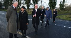 Hilary Benn (left) with Brexit committee members on the Border at Middletown, Co Armagh, during a visit to Northern Ireland on Thursday. Photograph: Brian Lawless/PA Wire