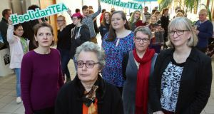 Up to 300 staff and students attended the  SolidariTEA support event for four academics pursuing legal action over lack of promotion at NUI Galway. Photograph: Joe O'Shaughnessy