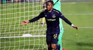 Ademola Lookman celebrates after scoring a goal for Everton in their Europa League match against Apollon Limassol at the GSP stadium in Nicosia. Photograph: EPA