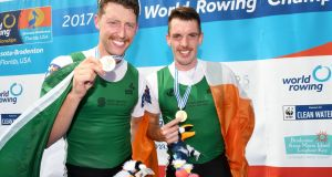Mark O'Donovan and Shane O'Driscoll celebrate victory in the lightweight pairs at the World Rowing Championships in Sarasota, Florida. Photograph: Detlev Seyb/Inpho