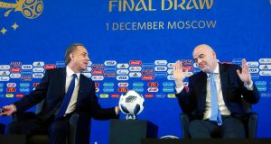 Russia's deputy prime minister Vitaly Mutko, who is also heading up the World Cup organising committee, pictured with Fifa president  Gianni Infantino during last week's draw in Moscow. Photograph:  Sergei Chirikov/EPA