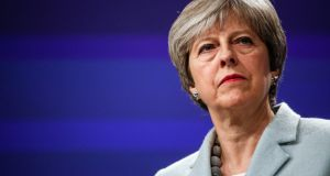 British prime minister Theresa May attends a news conference at the European Commission building in Brussels on Friday. Photograph: Bloomberg