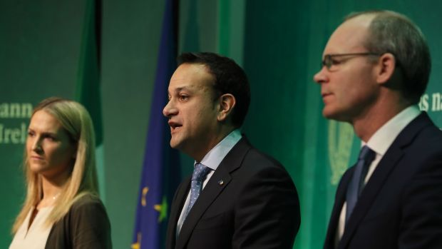 Taoiseach Leo Varadkar (centre), Tanaiste Simon Coveney (right) and Minister for European Affairs Helen McEntee speaking in Dublin after the European Commission announced 'sufficient progress' has been made in the first phase of Brexit talks. Photograph: PA