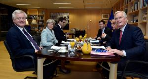 Britain's secretary of state for Brexit  David Davis (left), Britain's prime minister Theresa May (second left), European Commission president Jean-Claude Juncker (second right)and European Union's chief Brexit negotiator Michel Barnier (right) meet at the European Commission in Brussels, on Friday morning. Photograph: EPA